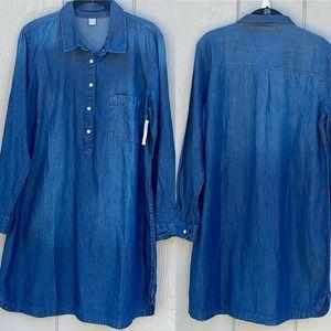 Old Navy Blue denim Shirt dress Size Large NWT
